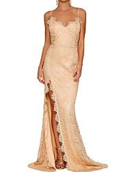 Недорогие -Жен. Классический Оболочка Платье - Сплошной цвет Завышенная На бретелях Макси