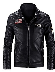 cheap -Men's Leather Jacket - Solid, Embroidered
