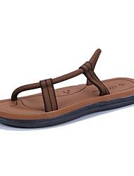 cheap -Men's Shoes Synthetic Microfiber PU Summer Comfort Slippers & Flip-Flops for Casual Outdoor Black Dark Blue Khaki
