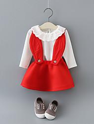 abordables -Robe Fille de Quotidien Ecole Couleur Pleine Mosaïque Coton Manches 3/4 Manches Longues simple Mignon Noir Rouge