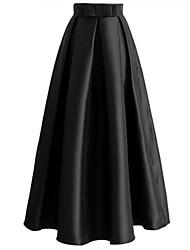 abordables -Femme simple Balançoire Jupes - Couleur Pleine