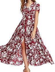cheap -Women's Holiday Sheath Dress - Floral, Split High Waist V Neck