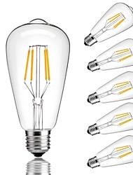 Недорогие -6шт 4W 360lm E26 / E27 LED лампы накаливания ST64 4 Светодиодные бусины COB Декоративная Тёплый белый Холодный белый 220-240V