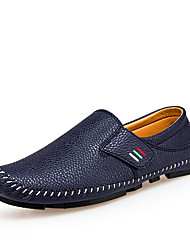 cheap -Men's Shoes Leather Spring Summer Comfort Loafers & Slip-Ons for Casual Outdoor White Black Dark Blue