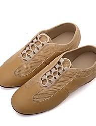 cheap -Women's Jazz Shoes Knit / Synthetic Microfiber PU Flat / Sneaker Flat Heel Customizable Dance Shoes Black / Light Yellow