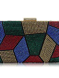 baratos -Mulheres Bolsas Poliéster / Metal Bolsa de Festa Detalhes em Cristal Vermelho / Roxo / Arco-íris