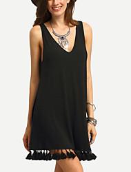 cheap -Women's Little Black Dress - Solid Color, Tassel V Neck
