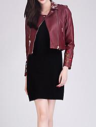 cheap -Women's Leather Jacket - Geometric, Print