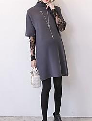Недорогие -Жен. Длинный рукав Длинный Пуловер - Однотонный Вырез под горло / Весна / Осень