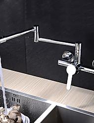 abordables -Moderne Pot Filler Montage mural Rotatif Soupape céramique Mitigeur deux trous Chrome, Robinet de Cuisine