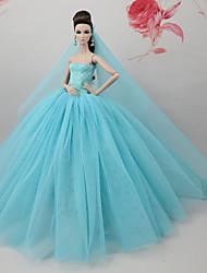 economico -Vestiti Vestito Per Bambola Barbie Azzurro chiaro Tulle Pizzo Misto Seta/Cotone Abito Per Ragazza Bambola giocattolo