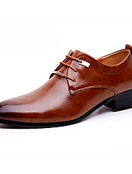 Недорогие -Муж. обувь Лакированная кожа Весна / Осень Удобная обувь Туфли на шнуровке Черный / Коричневый / Платья
