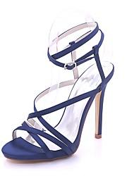 Žene Cipele Saten Proljeće Ljeto Obične salonke Sandale Stiletto potpetica Otvoreno toe Kopča za Vjenčanje Zabava i večer Pink Dark Blue