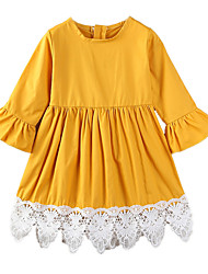 cheap -Girl's Daily Going out Solid Patchwork Dress, Cotton Polyester Spring Summer Simple Casual Yellow