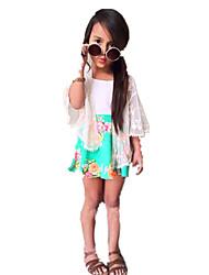 abordables -Robe Fille de Vacances Ecole Couleur Pleine Fleur Jacquard Coton Acrylique Polyester Printemps Eté Manches Courtes Mignon Décontracté