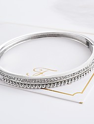 baratos -Mulheres Cristal Bracelete - Metálico Formato Circular Dourado Preto Prata Pulseiras Para Presente Festa de Noite