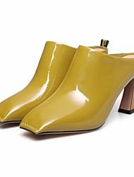 preiswerte -Damen Schuhe Leder Frühling Pumps Komfort Cloggs & Pantoletten Blockabsatz für Weiß Schwarz Gelb
