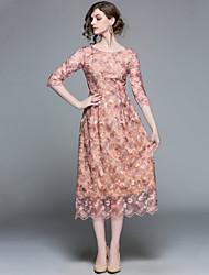 baratos -Mulheres Sofisticado Moda de Rua Evasê Vestido - Bordado, Sólido Longo