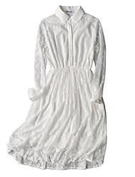 cheap -Women's Cute Chiffon Dress - Solid Colored, Lace Patchwork High Waist Shirt Collar