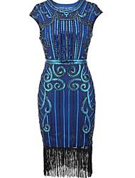 abordables -Gatsby le magnifique Rétro Gatsby Costume Femme Bandeau Garçonne Noir Bleu Doré Vintage Cosplay Polyester Sans Manches