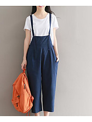 cheap -Women's Plus Size Cotton Overalls Pants - Solid Colored Pleated