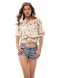 cheap -Women's Going out Vintage Street chic Puff Sleeve Slim Blouse - Floral, Print Boat Neck