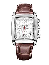 Недорогие -BAOGELA Муж. Кварцевый Модные часы Повседневные часы Китайский Хронометр С тремя часовыми поясами Натуральная кожа Группа На каждый день