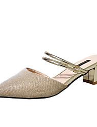 Недорогие -Жен. Обувь Полиуретан Весна Осень Удобная обувь Обувь на каблуках На толстом каблуке для Золотой Серебряный