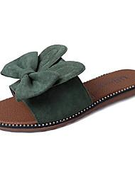 cheap -Women's Shoes PU Summer Comfort Slippers & Flip-Flops Flat Heel Round Toe Bowknot for Black Green
