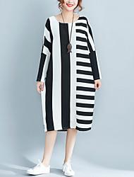 economico -Per donna Manica a pipistrello Oversized Largo T Shirt Vestito - Basic, A strisce Monocolore