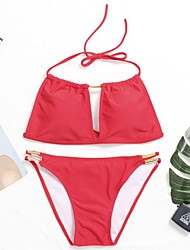 cheap -Women's Halter Off Shoulder Bikini - Solid Color
