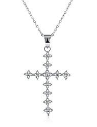 abordables -Femme Croix Zircon S925 argent sterling Pendentif de collier  -  Mode Argent Colliers Tendance Pour Cadeau Quotidien