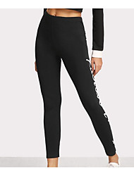 cheap -Women's Basic Legging - Letter Mid Waist