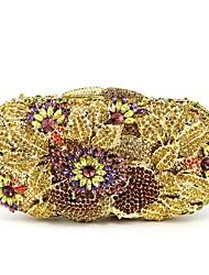 baratos -Mulheres Bolsas vidro Bolsa de Festa 5 Pcs Purse Set Flor Azul / Dourado