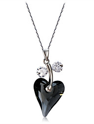 cheap -Women's Heart Crystal Cubic Zirconia Crystal Zircon Silver Plated Pendant Necklace  -  Elegant Fashion Black Necklace For Party / Evening