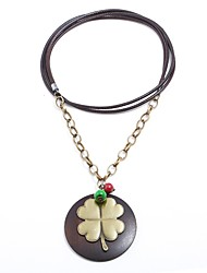 cheap -Women's Floral Oversized Pendant Necklace  -  Floral Vintage Oversized Four Leaf Clover Brown Necklace For Party / Evening Gift