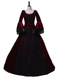 cheap -Rococo / Victorian Costume Women's Outfits / Party Costume / Masquerade Red / black Vintage Cosplay Flannel Fabric 3/4 Length Sleeve Flare Sleeve Halloween Costumes