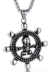 cheap -Men's Turquoise Pendant Necklace - Skull Fashion Silver Necklace For Daily, Street