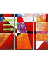 Недорогие -styledecor® современная ручная роспись абстрактная геометрия три части картина маслом на холсте искусство на холсте холст