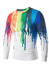 billige -Herre Plusstørrelser Sport Langærmet Tynd Rund hals Sweatshirt - Farveblok, Trykt mønster