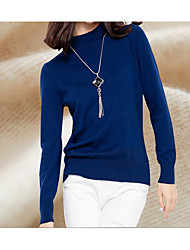 preiswerte -Damen Langarm Lang Pullover-Volltonfarbe