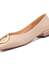 Недорогие -Жен. Обувь Полиуретан Весна Удобная обувь На плокой подошве На низком каблуке Квадратный носок Бежевый / Миндальный