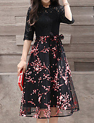 baratos -Mulheres Feriado Moda de Rua Delgado Bainha Vestido - Renda, Floral Médio