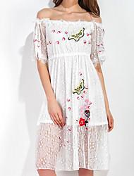 baratos -Mulheres Fofo Evasê Vestido Floral Acima do Joelho