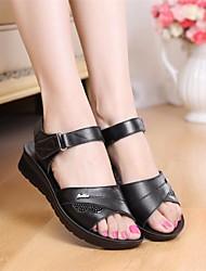 cheap -Women's Shoes Cowhide Spring / Summer Comfort Sandals Wedge Heel for Black / Brown / Dark Red