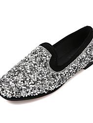 cheap -Women's Shoes PU(Polyurethane) Spring / Summer Comfort / Basic Pump Heels Flat Heel Pointed Toe Black / Silver / Party & Evening / Dress