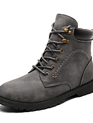baratos -Homens sapatos Couro Ecológico Inverno Coturnos Conforto Botas Preto Marron Cinzento Escuro