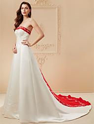 cheap -Product Sample A-Line Strapless Cathedral Train Satin Made-To-Measure Wedding Dresses with Beading / Embroidery by LAN TING BRIDE®