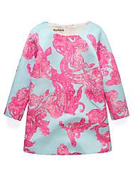 abordables -Robe Fille de Quotidien Sortie Vacances Ecole Fleur Jacquard Coton Acrylique Polyester Printemps Eté Manches Longues simple Rétro Fuchsia