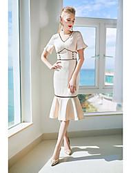 abordables -Femme Trompette/Sirène Robe - Ouvert, Couleur unie Taille haute Col en V